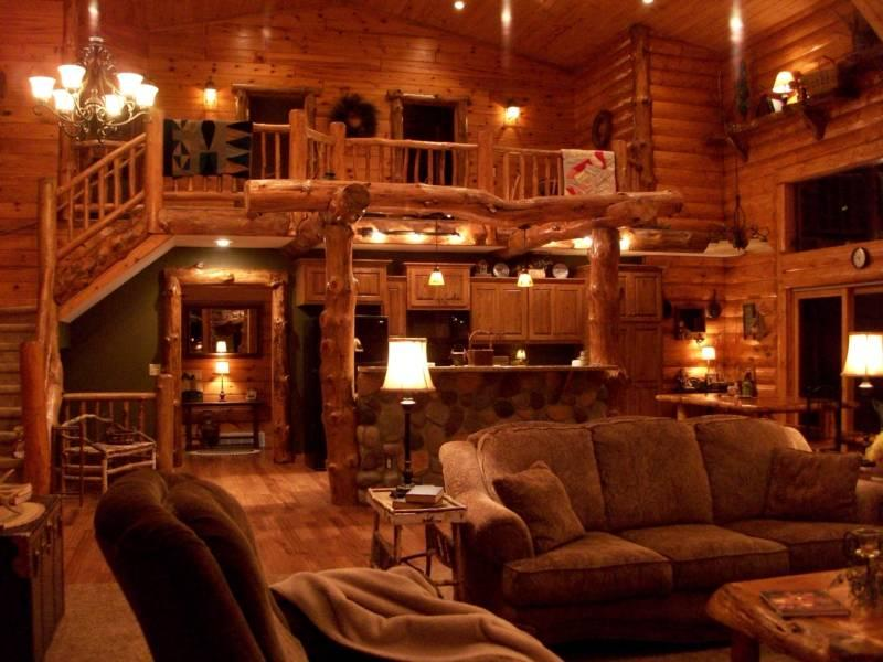 Living room - Beautiful Log Lodge - Shell Lake - rentals