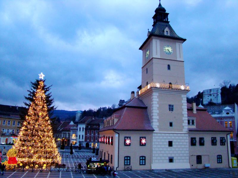 View from the apartment's window: The Old Council House and the enormous Christmas Treee - History & Style in Piata Sfatului - Brasov - rentals