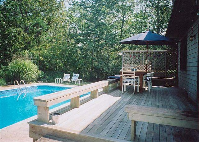View of Deck and Pool - SWINL - Private Pool, Landscaped Yard, Wifi - West Tisbury - rentals