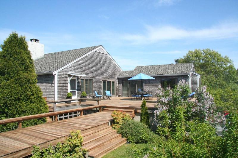 Deck and Main House - REYNW - Waterfront, Waterview, A/C, Great Pond,  Private Association Beach accessible by boat - Edgartown - rentals