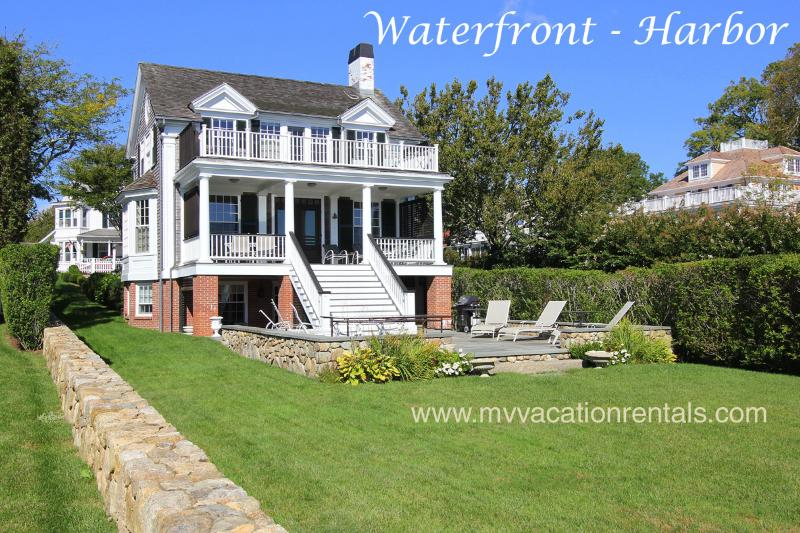 Waterfront Side of House, Patio, Upper and Lower Decks - RONAP -  Luxury Home, In-town Harborfront, Deep Water Dock, Spectacular Views, AC, Wifi - Edgartown - rentals