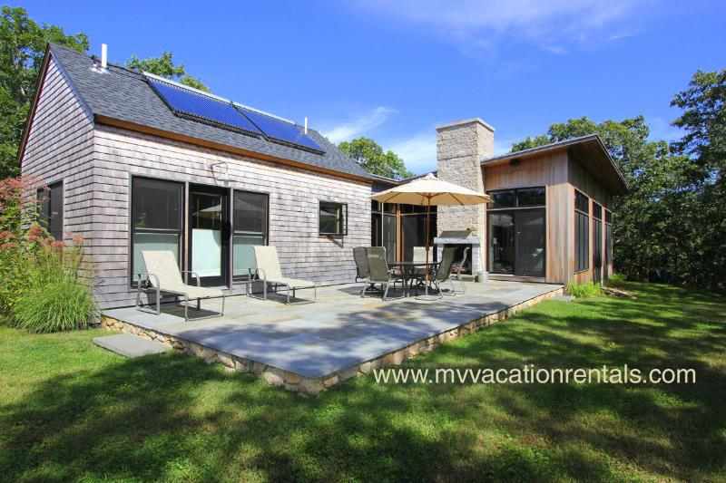 Yard, Patio and Outdoor Fireplace - MILLD - Green Home, Private Location, Short Drive to Gorgeous West Tisbury - West Tisbury - rentals