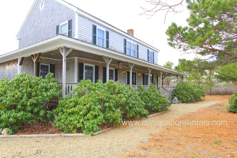 Front of House with Farmer's Porch - MARCA - SOUTH BEACH WEST TISBURY, CENTRAL AIR, WIFI INTERNET - West Tisbury - rentals