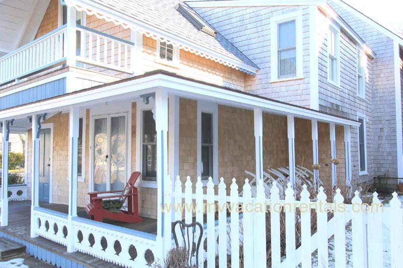 Entry Side of Ginger Bread Cottage - HAYEL - Gingerbread Cottage, Walk to Town, Harbor Area and Inkwell Beach,  Large Summer Porch, Deck,  Some Room AC, Wi-Fi - Oak Bluffs - rentals