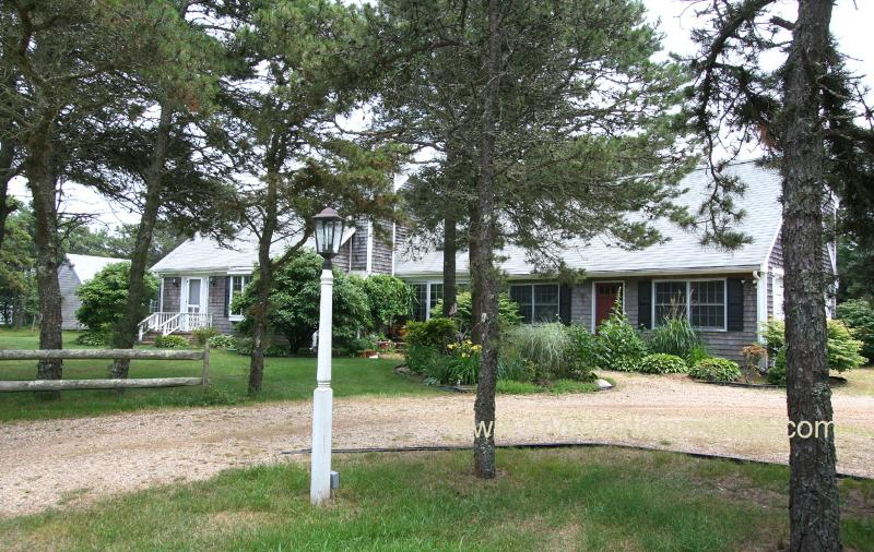 Entry Side of House - HUESC - Katama, less than a mile to South Beach, hi speed wireless internet.  May be rented as a 4 bedroom - see HUES4 - Edgartown - rentals