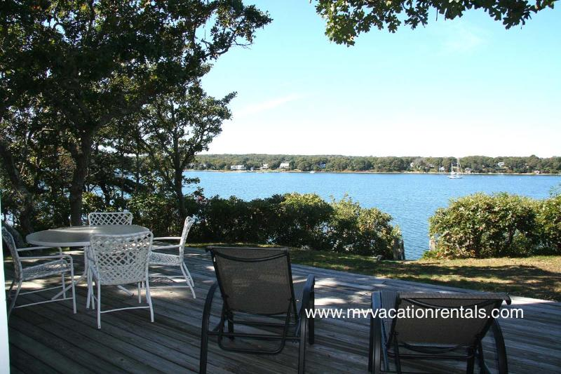 Deck, Dining and Views - SMYTS - Waterfront, Waterview, Private Beach Lagoon, Wifi Internet - Oak Bluffs - rentals
