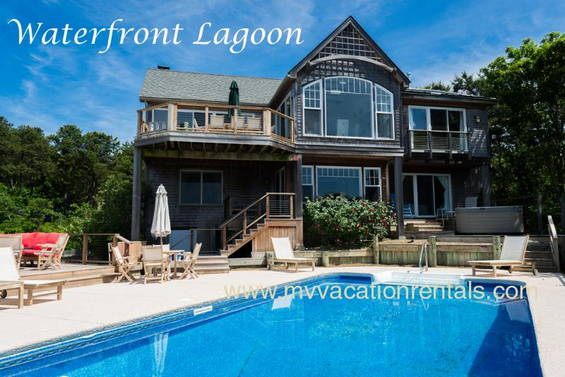 Waterfront Pool - KRIEH - Lagoon Waterfront Luxury Home with Pool , 500' of Private Sandy Lagoon Beach,  Sweeping Water Views - Oak Bluffs - rentals