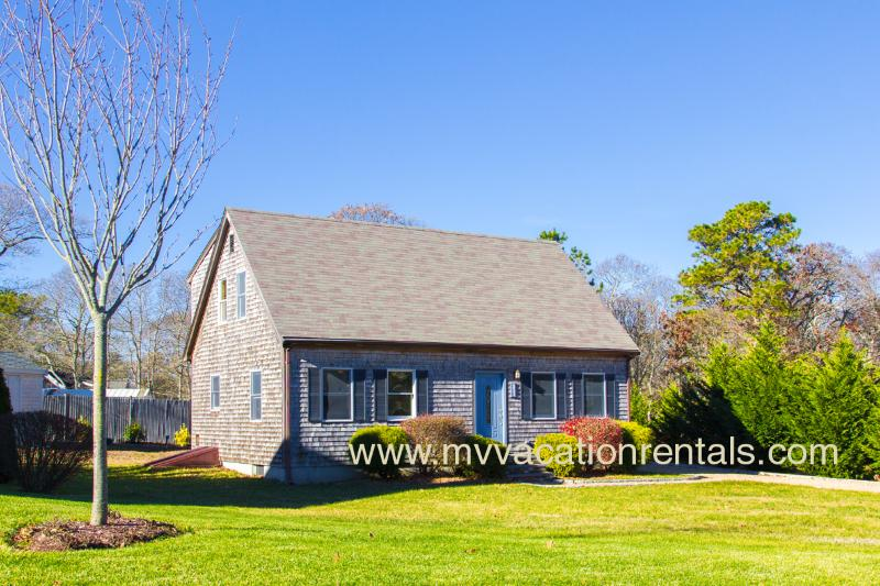 Front of House and Yard - WIGGE - Adorable Cape Style Home,  Situated on a Quiet Side Street,  15 Minute - Oak Bluffs - rentals