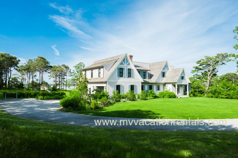 Drive and Entry Side of House - MORAA - Designer Luxury Home Overlooking Farm Neck Golf Course, Waterviews, Central A/C, WiFi,  Short Bike Ride to State Beach or Oak Bluffs Town Center. - Oak Bluffs - rentals