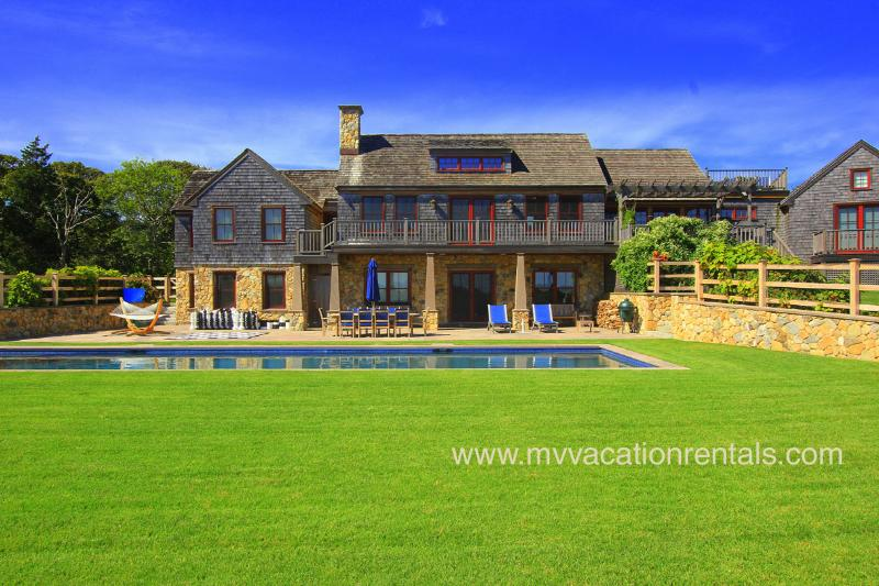 Pool, Patio and Yard - TREVS - Stunning, Oceanview Luxury Home, Private Association Beach Rights - Chilmark - rentals