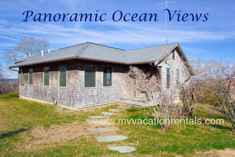 Entry Side of House - TIERD - Light House Rd Contemporary Retreat with Spectacular Unobstructed Waterviews over the North Shore. Sunsets, Gorgeous Aquinnah Beaches - Aquinnah - rentals