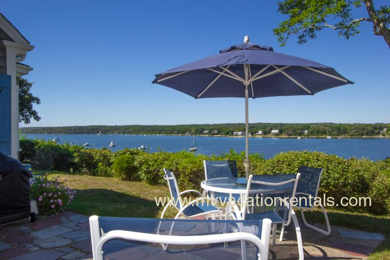 Patio Area with Spectacular Lagoon Views - ROLAJ - Waterfront, Waterview, Lagoon Beach, Hi Speed Internet - Vineyard Haven - rentals