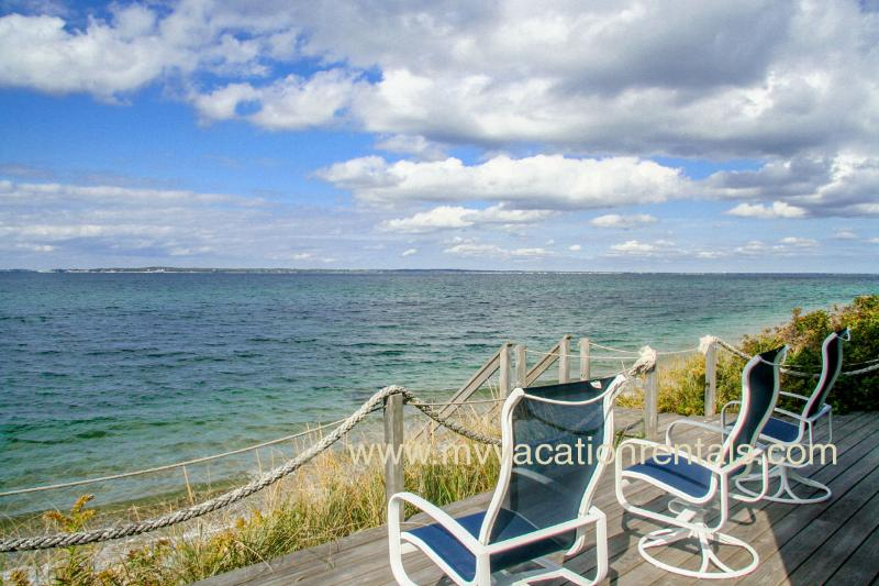 Deck and Stairs to Beach - KISSG - Beach Front Cottage, Spectacular Views, Extroardinary Sunsets,  Large Deck and Porch - Vineyard Haven - rentals