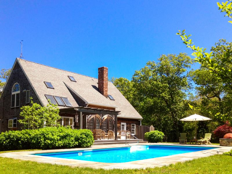 Pool and Yard Side of House - WOODJ - Gorgeous Retreat, Pool, Lush Landscaped Yard, Expansive Deck and Patio Areas, Luxury Interior, Media Room, Home Gym, Wi-Fi, AC Some Bedrooms, Lambert's Cove Beach - West Tisbury - rentals