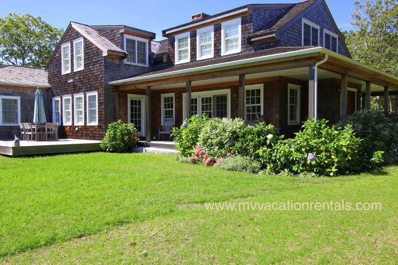 Yard, Deck and Waterview Side of House - MICHA - Chilmark Hilltop Luxury Home, A/C, Wifi Internet - Chilmark - rentals