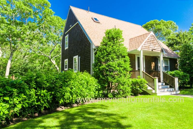 Entry Side of House - COOPC - Designer Post and Beam Cape, A/C, WiFi, Large Deck, Private Yard - Edgartown - rentals