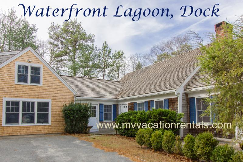 Entry Side of House - BRANP - Waterfront Home with Private Dock on Lagoon, Accessible to Vineyard Sound,  Media Room, Central AC,  Wi-Fi, Fully Renovated - Oak Bluffs - rentals