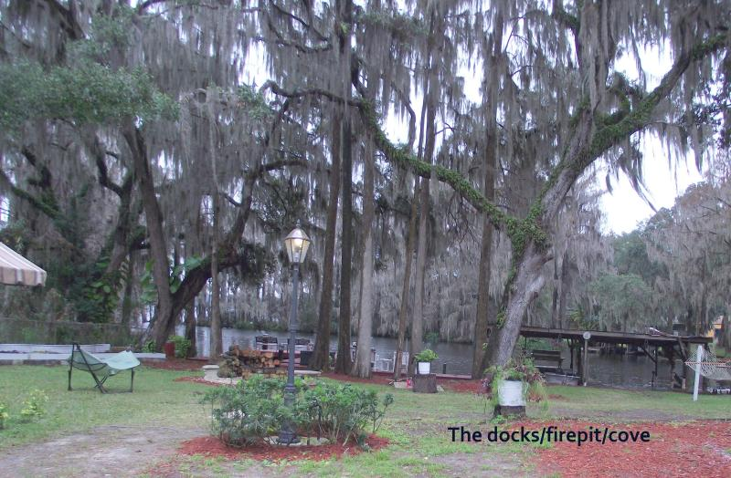 view of cove, firepit, and docks - Mom's River House..quiet n peaceful, canoes, docks - Crystal River - rentals