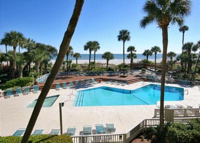Balcony View - Captains Walk 436, Oceanfront, Deluxe 2 Bedroom, Large Pool - Hilton Head - rentals