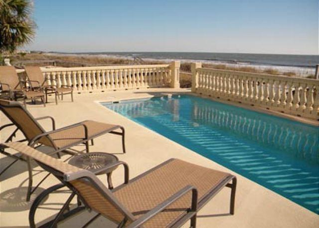 Pool Area - 6BR/6BA Oceanfront Home with Pool and Elevator has a Magical Setting - Hilton Head - rentals