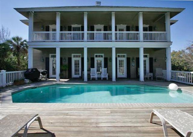 Pool Area - Wanderer 4, 6 Bedrooms, Private Pool, 3rd Row Ocean Home, Sleeps 16 - Hilton Head - rentals
