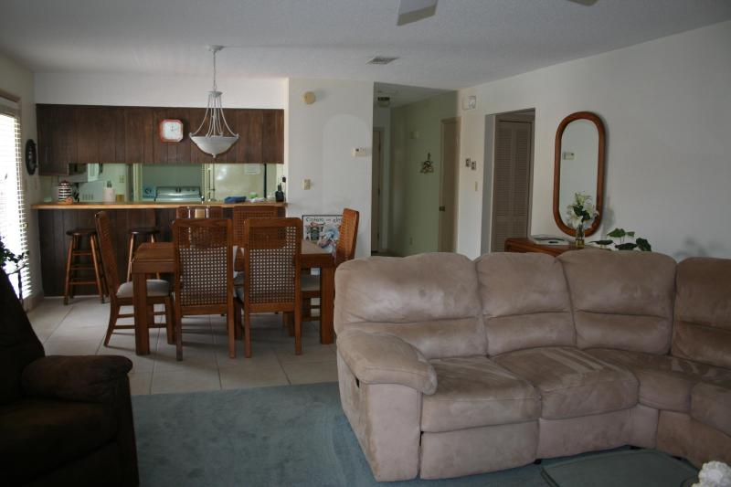 Living Room & Dining Room. Sectional sofa has Queen sofa sleeper and dining table seats 6 - Aug Special- $120/night! Just Steps To Pool/Beach! - Navarre - rentals