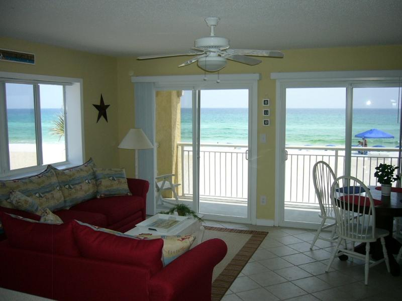 Living Room w/ Panoramic Views of the Gulf - End Unit, Panoramic View! Beach Service Included! - Fort Walton Beach - rentals