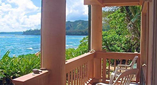 Your Oceanfront Lanai - Just one of 3 at Aloha Kai - BEACHFRONT - Sunsets, Rainbows, Oceanfront - Haena - rentals