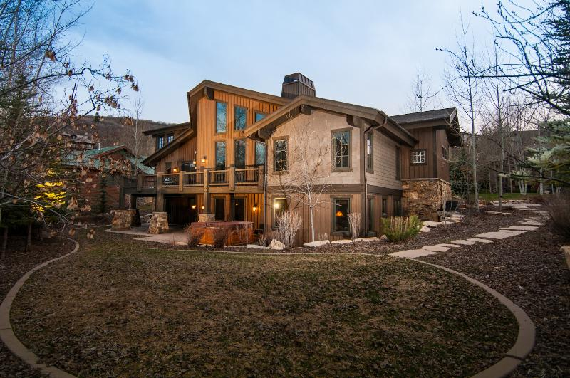 Exterior: Our private yard, upper deck w grill and lower patio w hot tub. - Deer Valley Oasis - Sleeps 18 - Park City - rentals