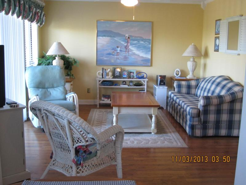 Our Relaxing Living Room with Flat Screen Television - Charming Oceanview Condo at The Myrtle Beach Resort by the Beach - Myrtle Beach - rentals
