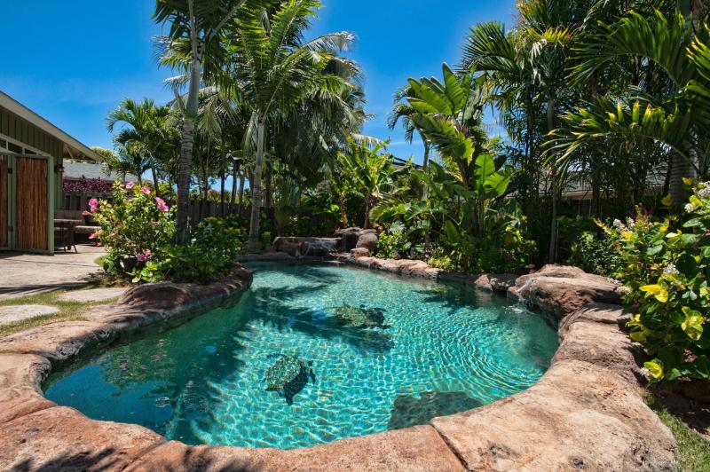 The pool is surrounded by lush, tropical foliage - Ginger Gazebo: Luxurious Setting with Salt Pool - Kailua - rentals