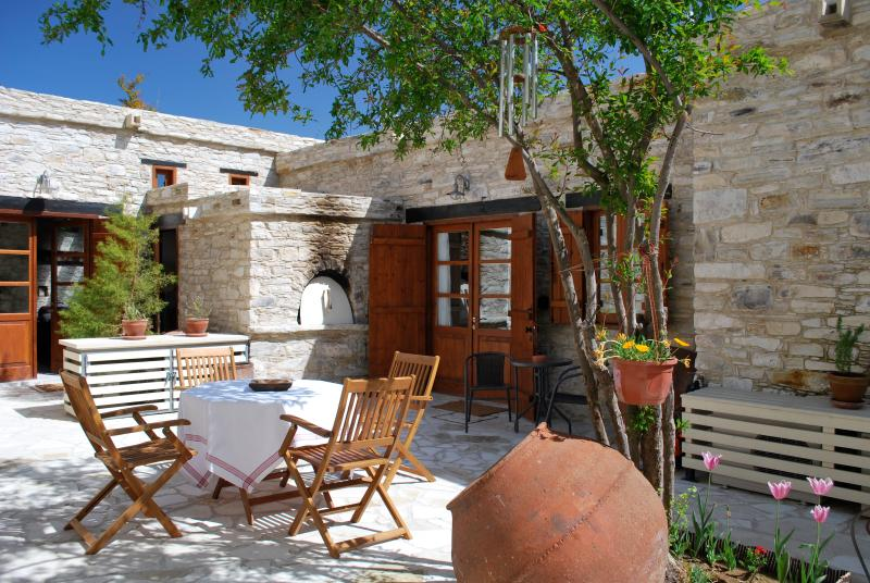 Our private courtyard, near our 2 studio Apartments. - Eco Traditional Stone Village House, w/Courtyard - Vavla  - rentals