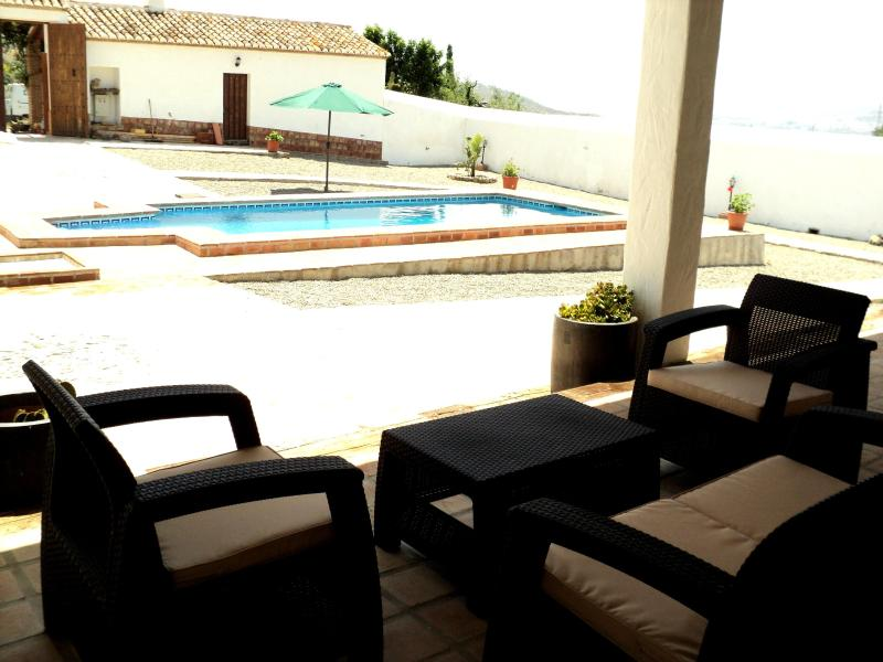 "View of the pool from the cover porch - Luxurious Country House ""Cortijo"" Inland Malaga - Alora - rentals"