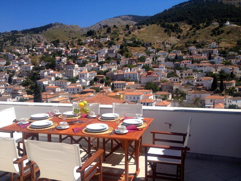 Top floor terrace. - 4 br & apt. Luxurious family Villa, great views - Hydra - rentals