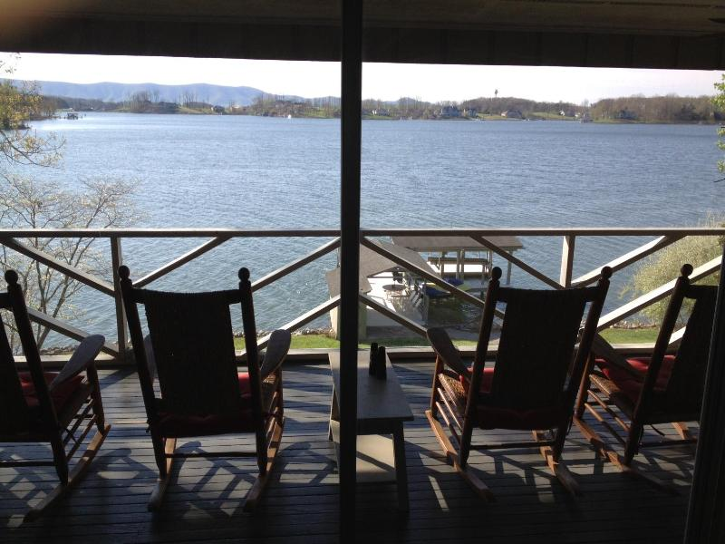 6 rocking chairs on screened porch for wide water view - Smith Mtn Lake Vacation Home (5 BR) with Spectacular Views of Water and Mountain - Moneta - rentals