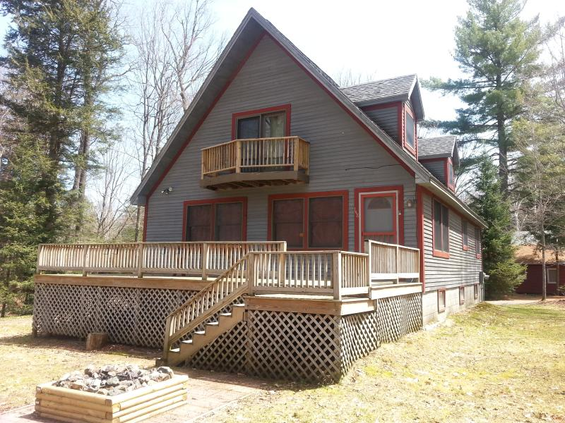 Front of house, deck and firepit - Lovely Four Season Home W/ Dock & Beach Rights - Saranac Lake - rentals