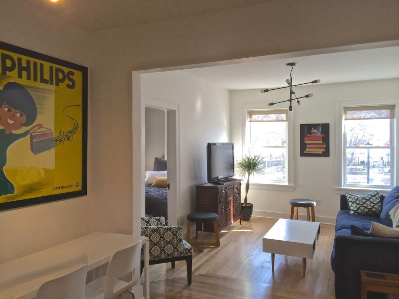 Dining area adjacent to living room - Newly Renovated Apartment in Heart of Hudson - Hudson - rentals
