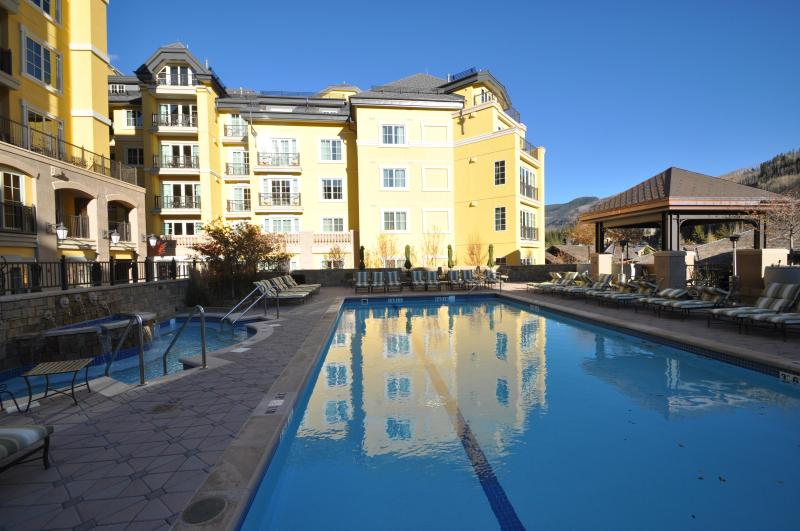 Enjoy the pool and two hot tubs open year around - Vail Ritz Carlton Luxury 3 BR, 4 Bath Apartment - Vail - rentals
