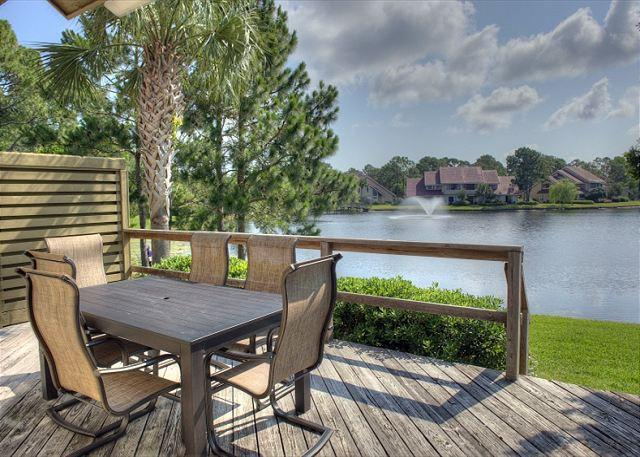 "Beautiful downstairs deck overlooking the lake. - Stay at the"" VIBRANT VILLA"" . PET FRIENDLY and Free Shuttle! - Sandestin - rentals"