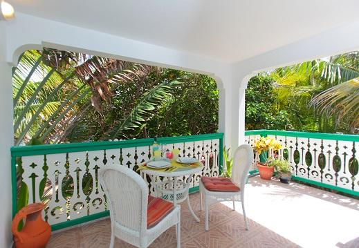 View of the Balcony- Private & Tranquil Tropical Paradise. You can see the sea from here - Tree Frog Apt, Oceanfront Comfort - Philipsburg - rentals