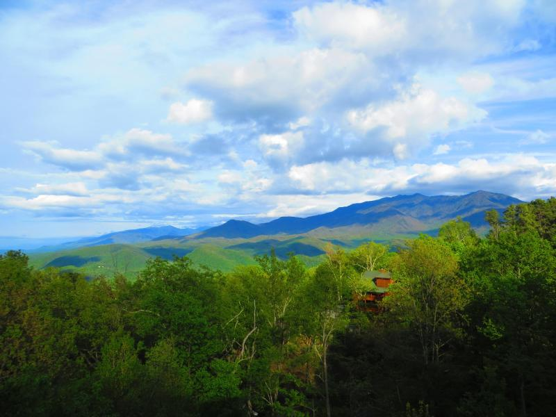 Gorgeous Spring view taken from the main deck. - WOW Mountain Views, 2 Kings+, WIFI, Hot Tub & More - Gatlinburg - rentals