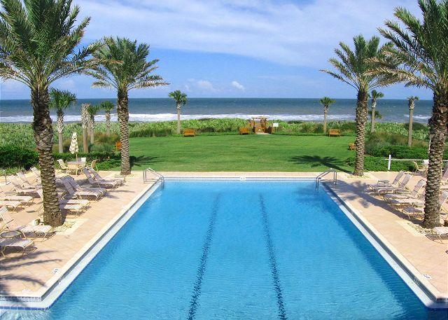 Dive into our oceanside pool, or soak up the sun beneath palms! - Cinnamon Beach condo, Unit 625, Oceanfront, 3 bedrooms, HDTV, Corner Unit - Palm Coast - rentals