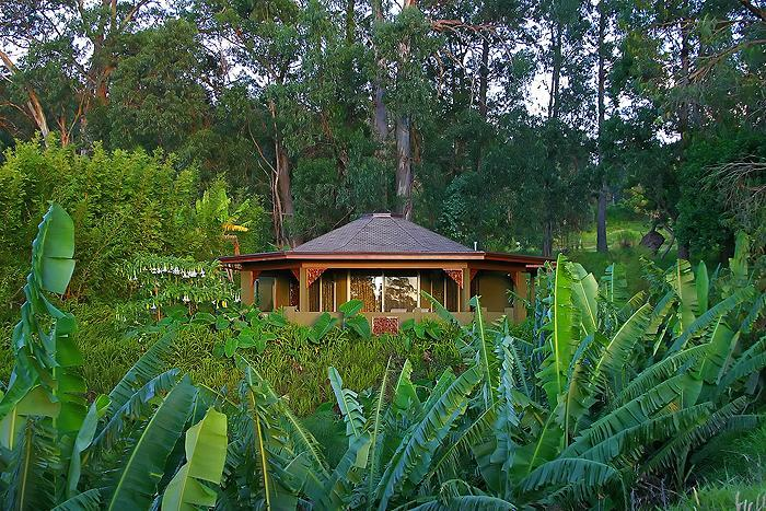 The unique octagonal design of the Aloha Cottage, perched above a bluff, on our 5 acre estate. - Aloha Cottage Maui - Romantic Luxury Cottage - Makawao - rentals