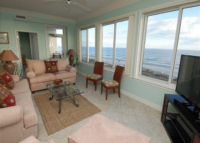 Living ARea - 3401 SeaCrest-4th Floor, 3 Bedroom Oceanfront. Book NOW for 2016 - Hilton Head - rentals