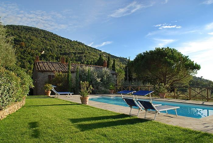 Pool, villa and Cortona hillside view - Classic Tuscan Home at La Certosa in Cortona - Cortona - rentals
