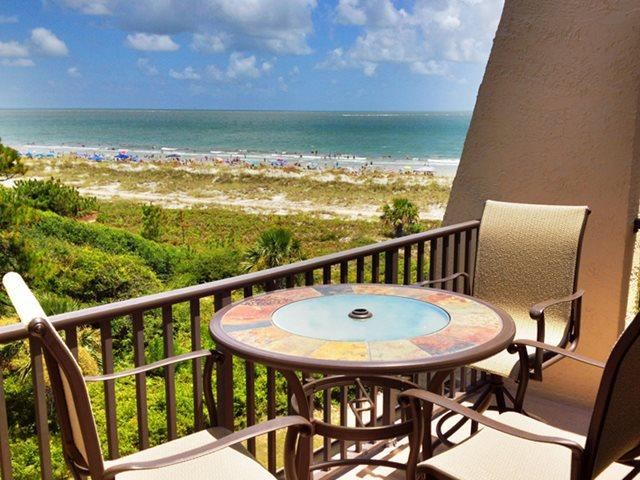 Balcony and ocean view - Island Club, 1501 - Hilton Head - rentals