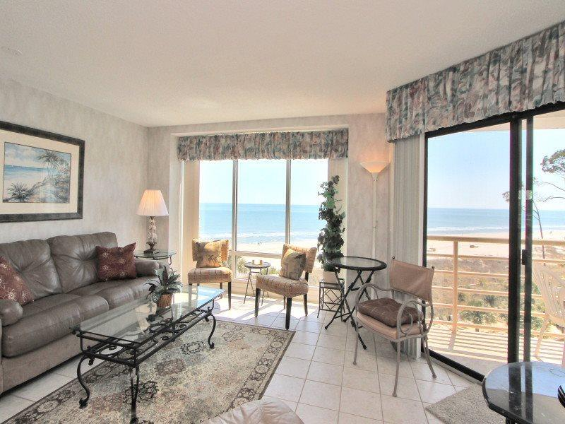 Living Room with Ocean Front Views at 1501 Villamare - 1501 Villamare - Palmetto Dunes - rentals
