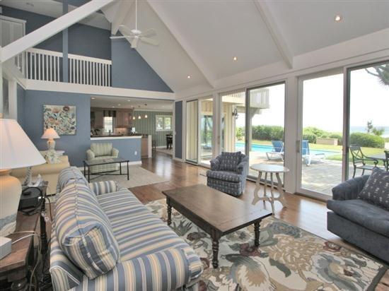 Living Room with Ocean Views at 29 South Beach Lagoon - 29 South Beach Lagoon - Sea Pines - rentals