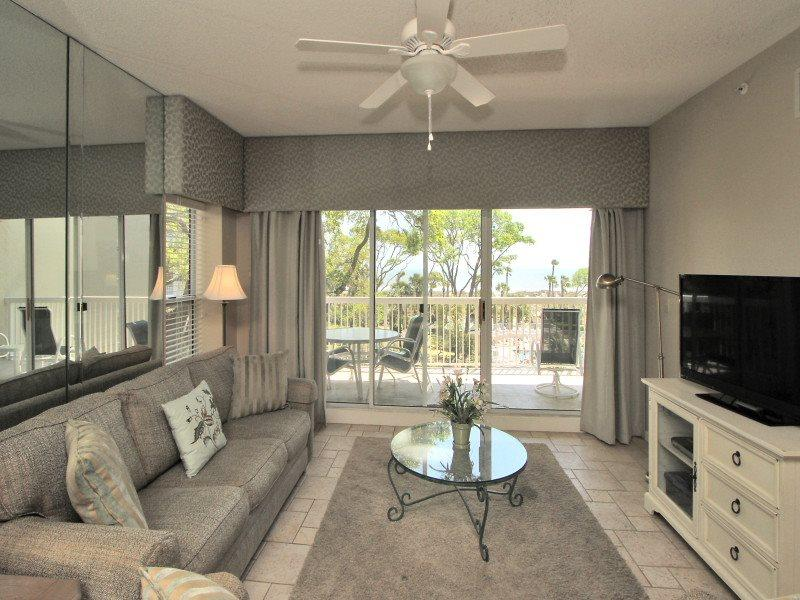 Living Room with Balcony at 302 Barrington Arms - 302 Barrington Arms - Palmetto Dunes - rentals
