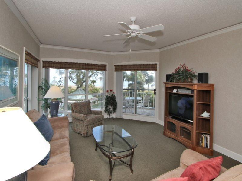 Living Room with Balcony Access at 3210 Windsor Court South - 3210 Windsor Court South - Palmetto Dunes - rentals